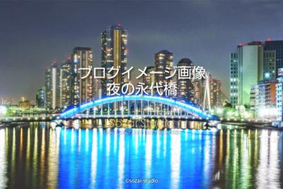 ブログ記事無料アイキャッチ画像:永代橋と中央大橋夜景4素材|素材スタジオ