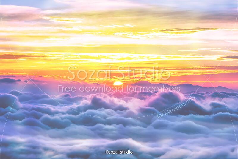 ブログ記事用無料イメージ画像:雲海シリーズ朝日と雲海|素材スタジオ