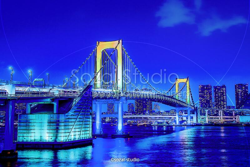 ブログ記事用無料イメージ画像:夜景シリーズレインボーブリッジ(1)|素材スタジオ