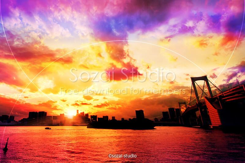 ブログ記事用無料イメージ画像:夕焼けシリーズお台場(1)|素材スタジオ