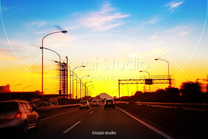 ブログ記事用無料イメージ画像:ドライブシーン夕焼け富士山へ!|素材スタジオ