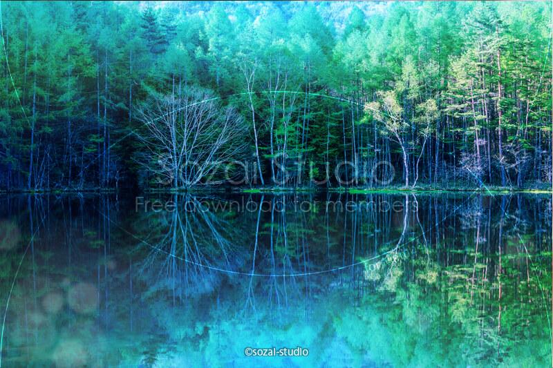 ブログ記事用無料イメージ画像:森林のリフレクション御射鹿池4素材|素材スタジオ