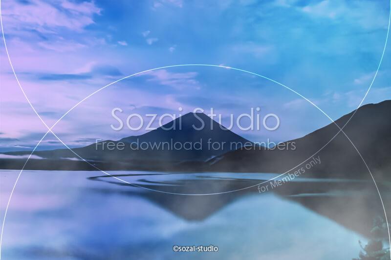 ブログ記事用無料イメージ画像:朝霧の富士山 本栖湖4素材|素材スタジオ