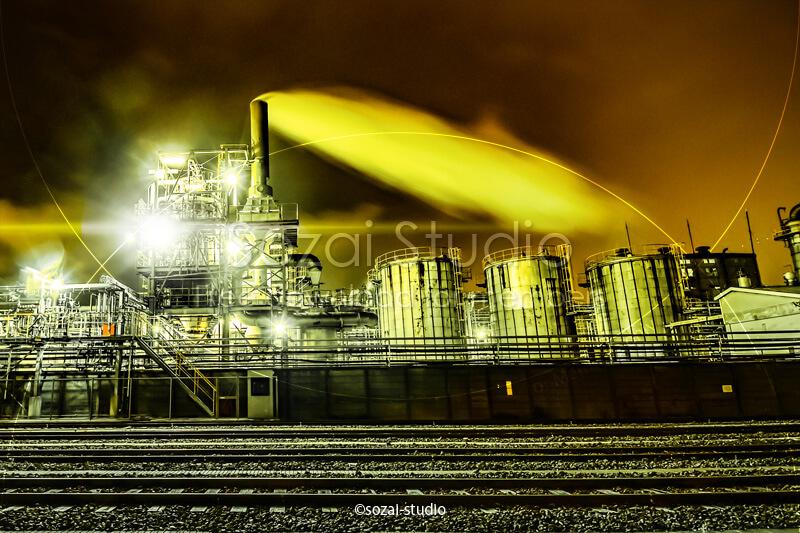 ブログ記事用無料イメージ画像:工場夜景カラーバリエーション4素材|素材スタジオ