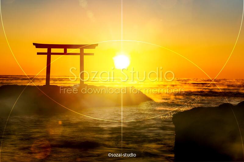 ブログ記事用無料イメージ画像:鳥居と日の出 神磯の鳥居4素材|素材スタジオ
