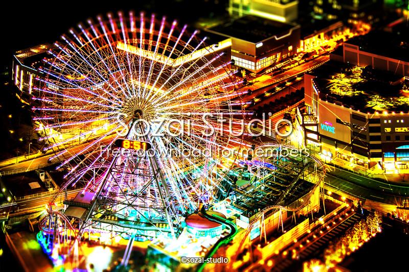 ブログ記事用無料イメージ画像:コスモクロック21夜景4素材|素材スタジオ