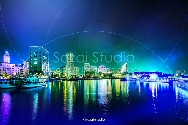 ブログ記事用無料イメージ画像:きらめく横浜の夜景 4素材|素材スタジオ