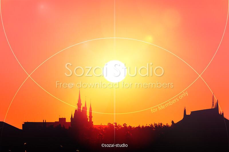 ブログ記事用無料イメージ画像:シンデレラ城と朝日 4素材|素材スタジオ