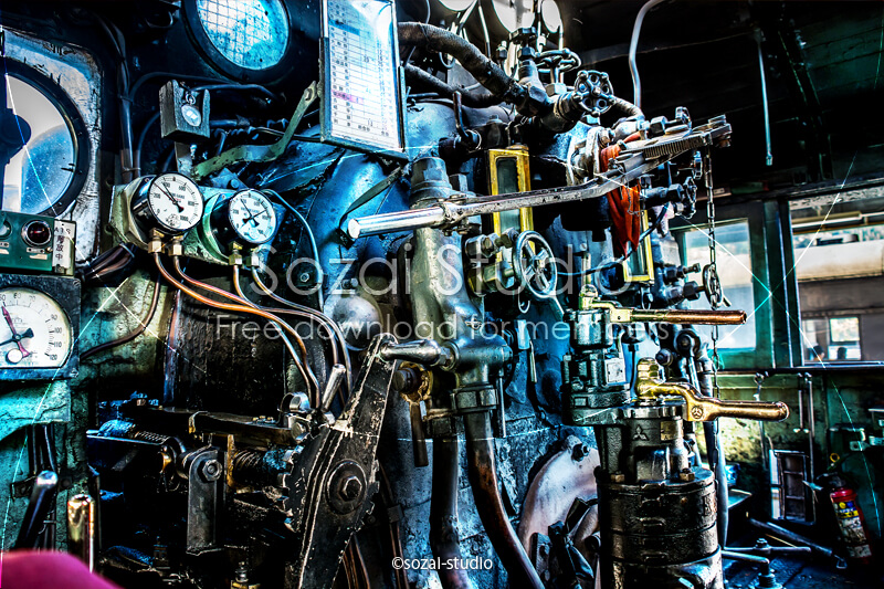 ブログ記事用無料イメージ画像:蒸気機関車の機関室 4素材|素材スタジオ