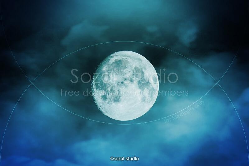 ブログ記事用無料イメージ画像:月の風景 雲の中の月4素材|素材スタジオ