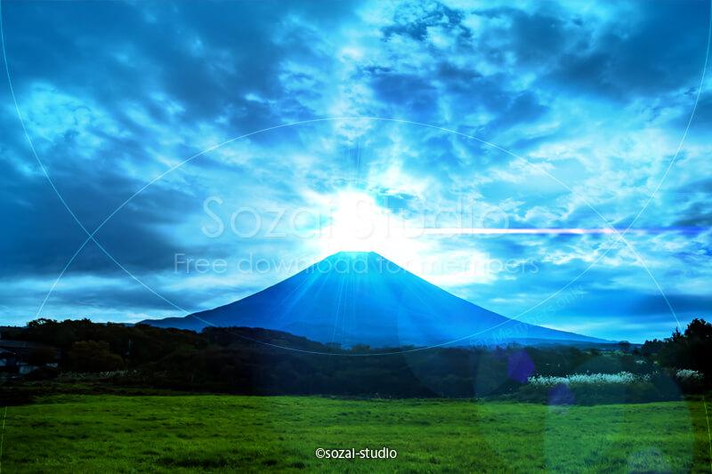 ブログ記事用無料イメージ画像:ダイヤモンド富士の風景4素材