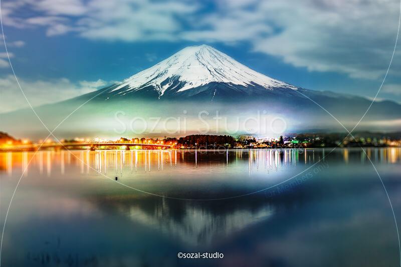 ブログ記事無料アイキャッチ画像:夜の逆さ富士 河口湖4素材|素材スタジオ