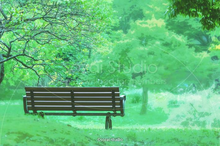 ブログ記事無料アイキャッチ画像:緑の中 公園のベンチ4素材