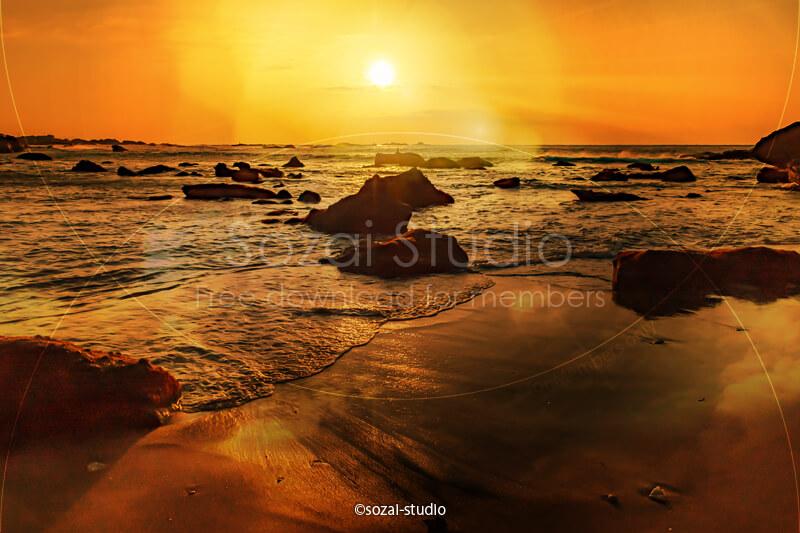 ブログ記事無料アイキャッチ画像:海岸の日の出 朝日と海4素材|素材スタジオ