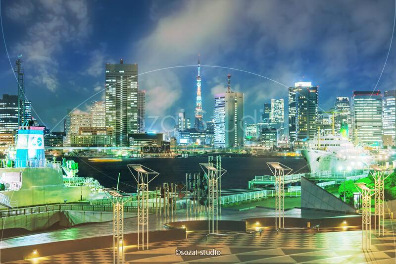 ブログ記事無料アイキャッチ画像:晴海埠頭と東京の夜景4素材|素材スタジオ