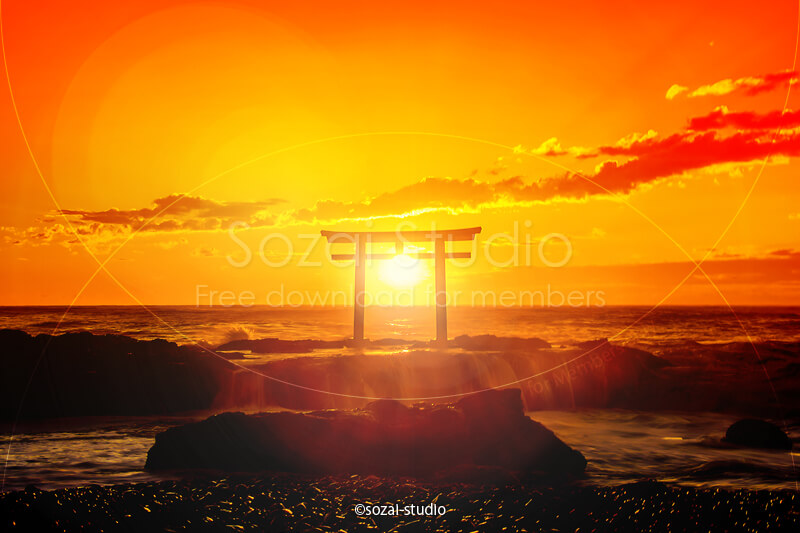 ブログ記事無料アイキャッチ画像:神磯の鳥居と日の出4素材