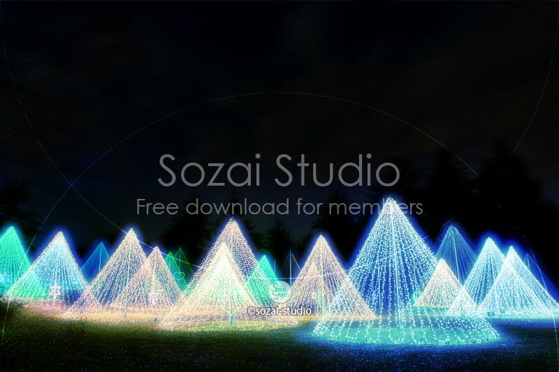 ブログ記事無料アイキャッチ画像:円錐イルミネーション4素材