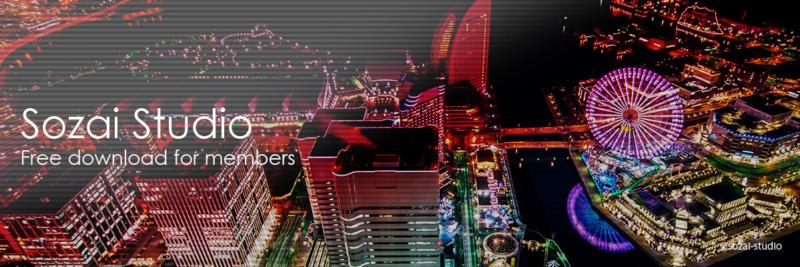 ブログヘッダー用無料画像:夜景シリーズ横浜の夜景展望|素材スタジオ