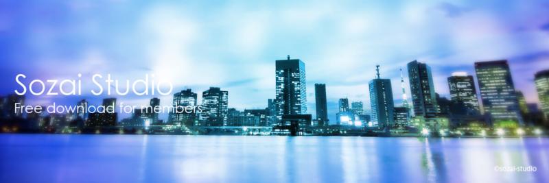 ブログヘッダー用無料画像:夜景シリーズ東京水辺ライン(1)|素材スタジオ