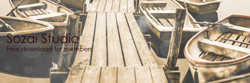 ブログヘッダー用無料画像:水辺シリーズ水辺のボート|素材スタジオ