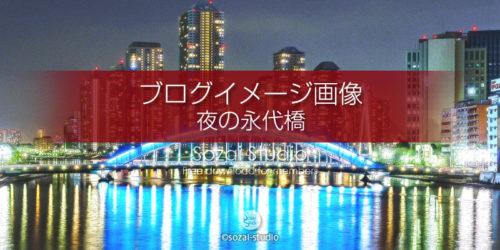 永代橋と中央大橋夜景:ブログ記事用画像